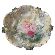 Embossed Acorn Nut Mold~Antique RS PRUSSIA Cabinet Bowl~Pink Yellow Poppy Flowers