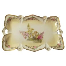 Canterbury Bells Antique RS PRUSSIA Dresser Perfume Vanity Tray~Matte Finish