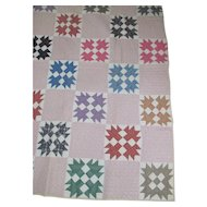 VG Antique TURKEY TRACKS Quilt~early 1900s Period Cottons~Hand Pieced & Quilted