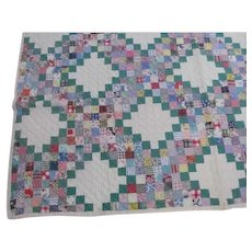 Colorful~Vintage IRISH CHAIN Quilt Green & Feedsack Prints~Hand Pieced Quilted