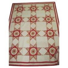 1890s Antique Quilt Red Tan FEATHERED STAR Sunburst Center w/Provenance 72x92
