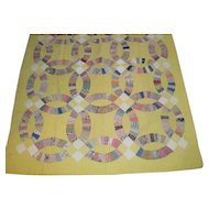 EXC~Antique Yellow DOUBLE WEDDING RING Quilt~1930s Hand Quilted~Early Feedsacks