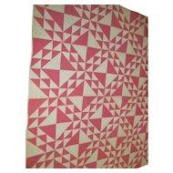 EXC~1800s Antique Prairie Quilt CORN & BEANS~Double Pinks & Black White Shirting