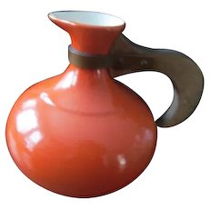 Orange Red Wing Pottery Vintage Carafe Pitcher~Wood Handle Redwing
