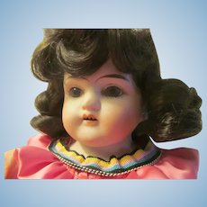 """Antique 11/0 Germany Doll Bisque Head Shoulderplate 15""""~Chubby Cheeks~Orig Body"""