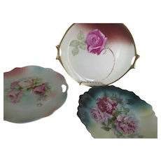 Instant Collection~Set of 3 GORGEOUS ROSES Antique Plates~Germany Hutschenreuther
