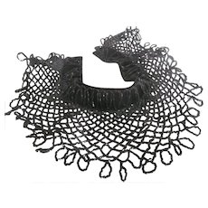FAB Antique Black Jet Glass Beaded Velvet Victorian Collar~Mourning Steampunk