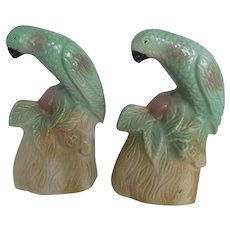 Mid Century MOD~Pair Vintage Ceramic Green Parrot Figurines Bookend~1950s Brazil