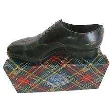 Vintage Advertising Miniature HANOVER Shoe w/Tartan Plaid Box 1940-50s Premium