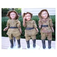 "Set of Three - 4"" Composition Soldiers"