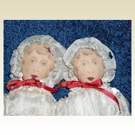 "8.5"" Printed Cloth Twin Dolls by Art Fabric Mills"