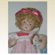 """10 1/4"""" All Porcelain Doll w/ Cloth Doll"""