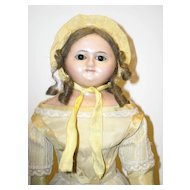 """18"""" Slit Head Wax Over Composition Doll w/ Wire-Pull Eyes"""