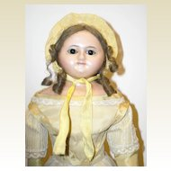 "18"" Slit Head Wax Over Composition Doll w/ Wire-Pull Eyes"