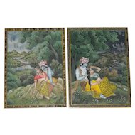 Pair of Miniature Kangra Style Paintings