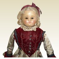 "19"" Wax Over Composition Doll with Brown Sleep Eyes"