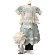 Exceptional Antique Girl's Dress and Lace Bonnet