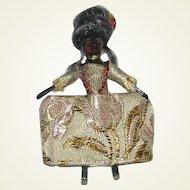 Miniature Black Queen Anne Inspired Wooden Doll