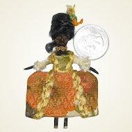 Miniature Queen Anne Inspired Black Wooden Doll