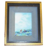 Small Framed Enamel Picture Signed Raphael