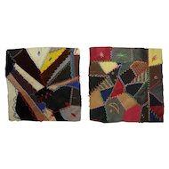 Two Antique Crazy Quilt Squares
