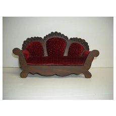 Vintage Wood and Cranberry Velvet Doll Sofa