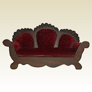 Vintage Wood and Cranberry Velvet Doll Sofa