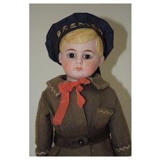 "15"" German Bisque Shoulderhead Doll - American School Boy"