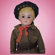 "15"" German Bisque Shoulderhead Doll - American School Boy"