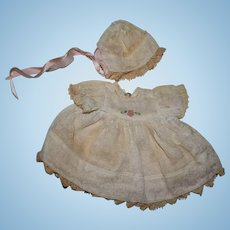 Small Doll Dress and Bonnet