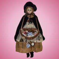 """13.5"""" Slit Head Wax Peddlar Doll"""