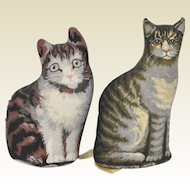 Pair of Small Printed Cloth Tabby Cats