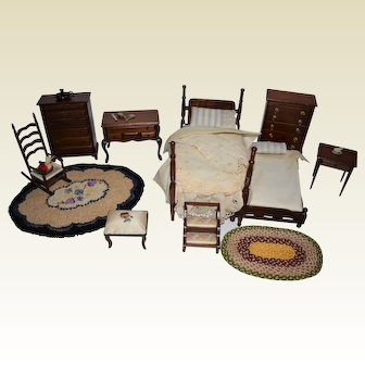Lovely Group of Doll House Miniature Furniture Plus Other Items