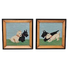 Pair of Framed Needlepoint Scotty Dog Pictures