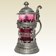 Ornate Glass and Metal Miniature Beer Stein