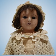 """18"""" Wax Over Composition Doll with Rare Soho Bazaar Label"""