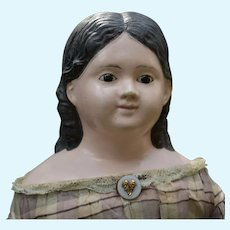 "22"" Papier-Mache Doll with Long Curls and Glass Eyes"