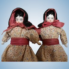 """6.5"""" Pair of China Head Dolls Dressed as Twins"""