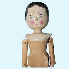 "11.5"" Late Era Grodnertal Peg Jointed Wooden Doll - #2"
