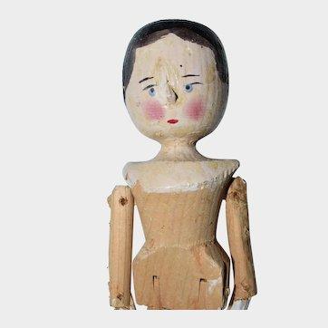 "11.5"" Late Era Grodnertal Peg Jointed Wooden Doll - #2"