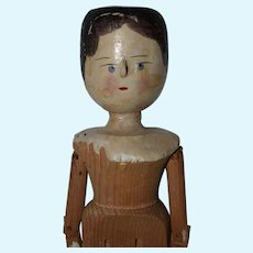 "12.25"" Late Era Grodnertal Peg Jointed Wooden Doll - #3"