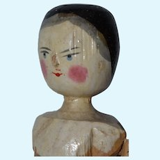 "11.5"" Late Era Grodnertal Peg Jointed Wooden Doll - #4"