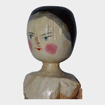 "11.5"" Late Era Grodnertal Peg Jointed Wooden Doll - #4"