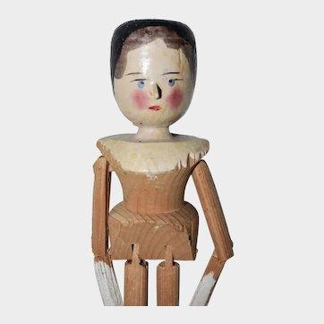 "11.75"" Late Era Grodnertal Peg Jointed Wooden Doll - #5"