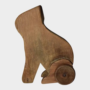 """5"""" Old Hand Made Wooden Toy on Wheels"""