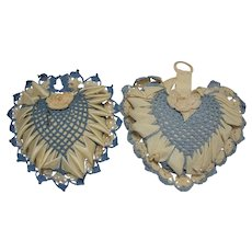 Set of Two Crochet and Ribbon Heart Shaped Pincushions