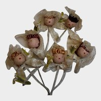 Six Spun Cotton, Chenille, Pipe Cleaner Bridesmaids