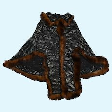 Heavy Woven Cape with Trim