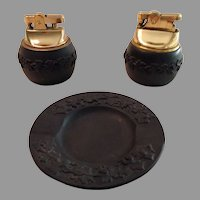 Wedgwood Matte Black Cigarette Lighters and Ashtray