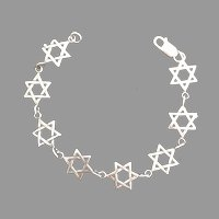 Silver Star of David Link Bracelet